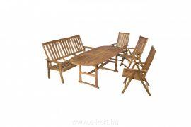 Fa kerti bútor ovális asztal+pad +székek